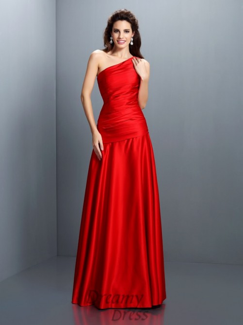 A-Linie/Princess-Linie One-Shoulder-Träger Satin Lange Kleider