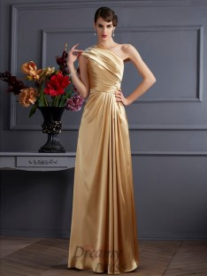 A-Linie/Princess-Linie One-Shoulder-Träger Stretch-Satin Bodenlang Kleider
