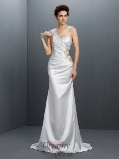 Trompete/Meerjungfrau-Linie One-Shoulder-Träger Sweep/Pinsel zug Stretch-Satin Kleider